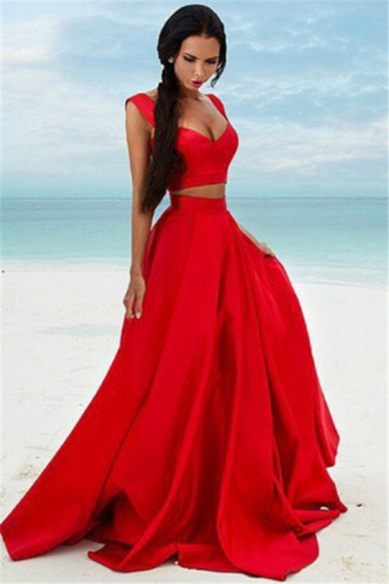 Sexy Two Piece Red Formal Dresses   Sleeveless Evening Gown BA7932