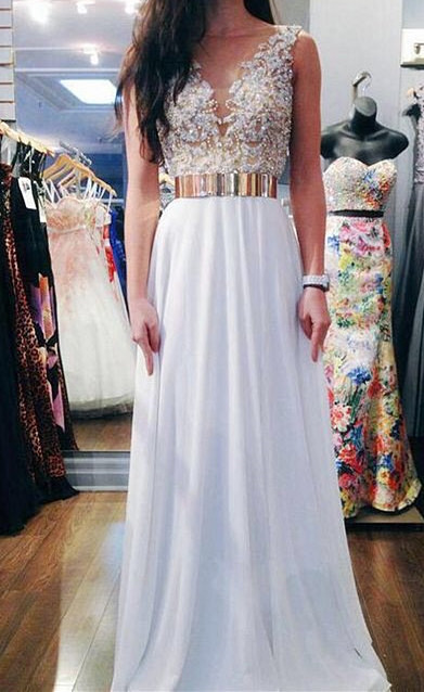 V-Neck Formal White Chiffon Long Applique Prom Dresses Affordable Custom Floor Length Belt Dresses for Juniors cj0205