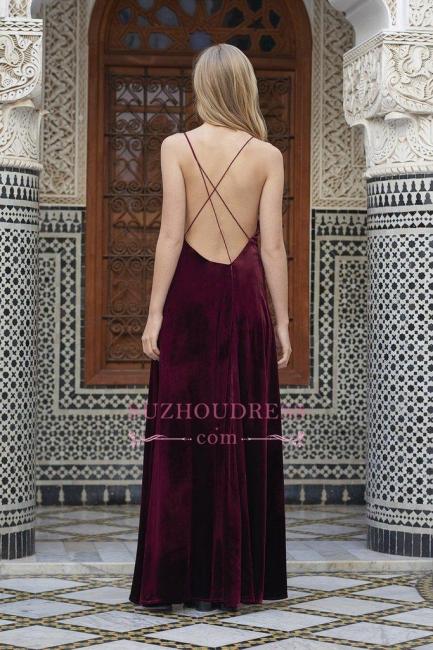 Sexy A-line Spaghettis Straps Burgundy Formal Dresses Velvet Side Slit Evening Dress