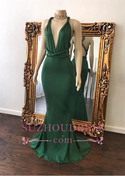Beautiful Mermaid Formal Dress Floor Length Green V-Neck Long Evening Dress