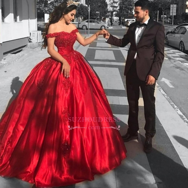 Red Off-the-Shoulder Ball-Gown Evening Dress | Appliques Floor Length Prom Dresses