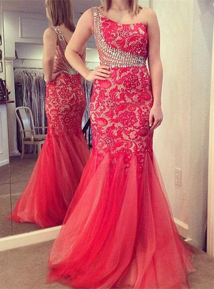 One Shoulder  Prom Dress Mermaid Lace Tulle Crystals Evening Dress Long