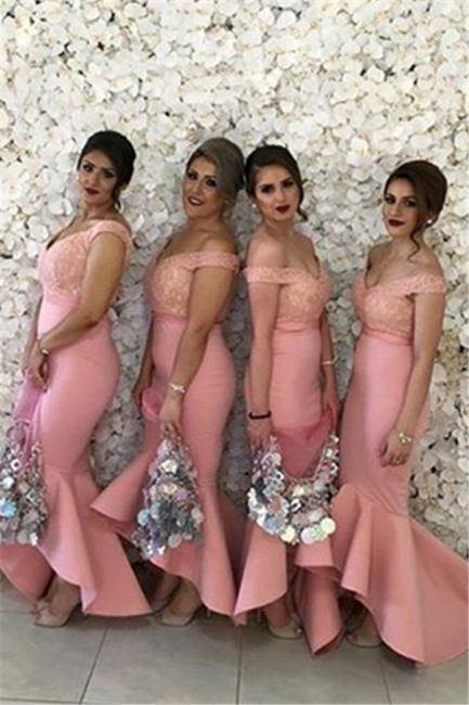 Off The Shoulder V-neck Lace Bridesmaid Dresses   Puffy Bottom Hi-lo Formal Dress