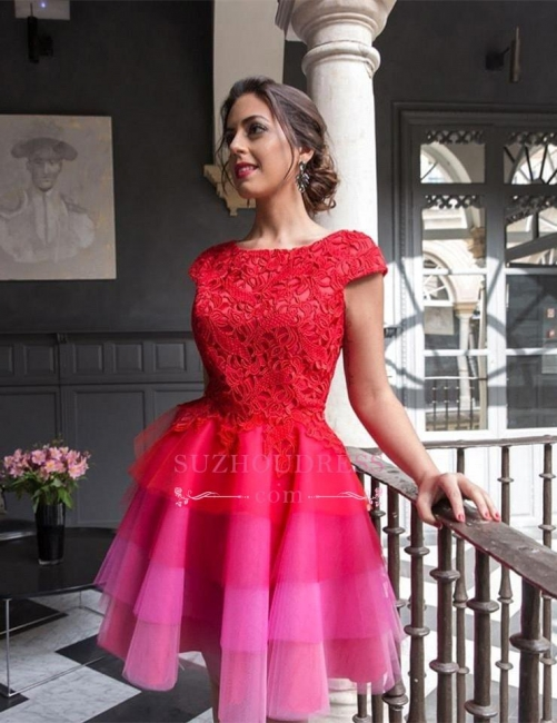 Colorful Tulle Red Lace Homecoming Dresses  A-line Mini Cap-Sleeve Newest Homecoming Dress