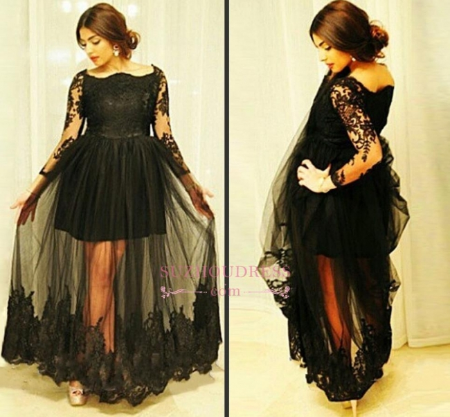 Gorgeous Black Floor-Length Lace Long-Sleeve Tulle Maternity Dresses