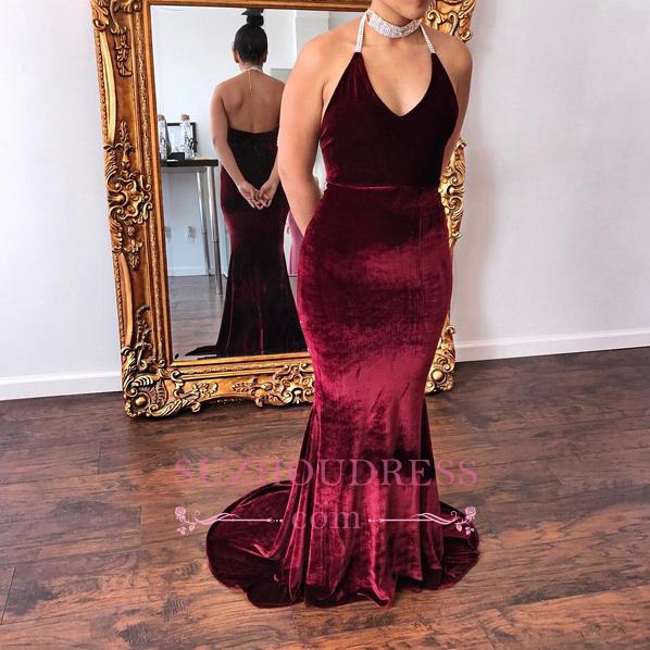 Velvet Halter V-Neck Formal Dress  Mermaid Glamorous Burgundy Evening Dress