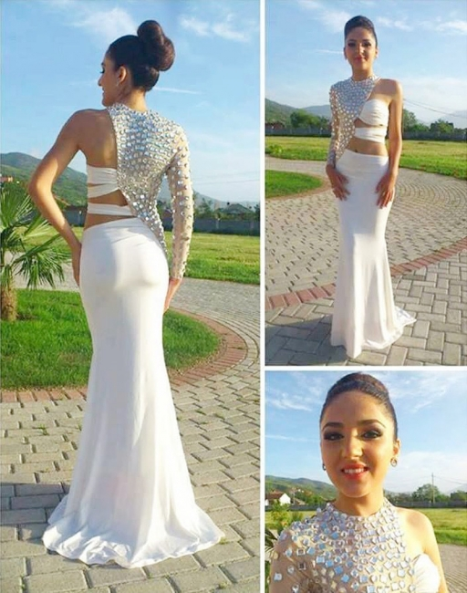 Shiny Silver Crystal One Shoulder Prom Dress Sexy White Mermaid Formal Evening Dress with One Sleeve CJ0401