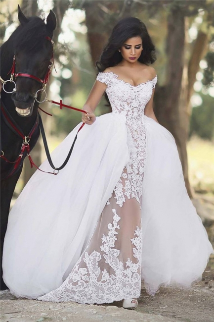 Off The Shoulder Sheer Lace Wedding Dresses  Puffy Tulle Overskirt Sleeveless Bridal Gowns BA6040