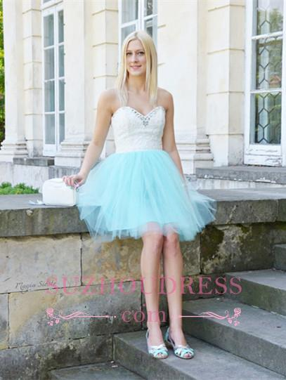 Sleeveless Lace Mini Newest Crystal Sweetheart Homecoming Dress
