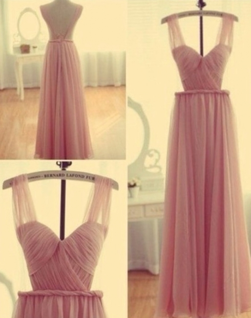 Cute Pink  Popular Evening Long Dress Chiffon Fashional Ruffle Party Gowns