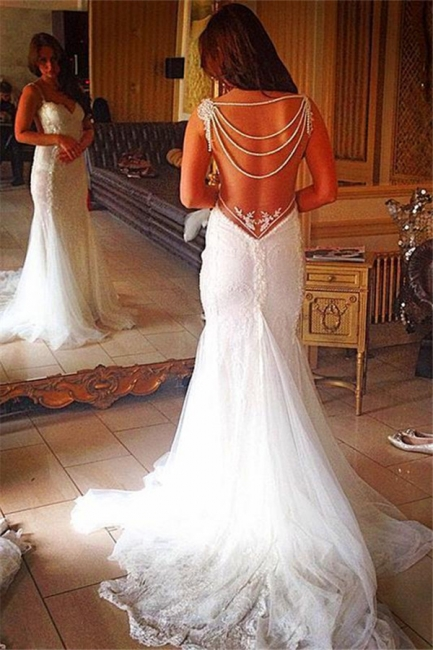 Backless Lace Bridal Gowns Sheath Mermaid Wedding Dress with Pearls Chains