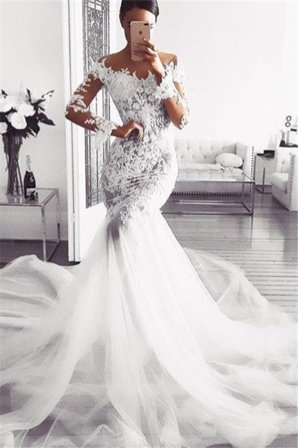 Elegant Off Shoulder Wedding Dresses | Long Sleeves Mermaid Lace Bridal Gowns
