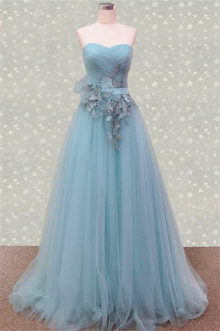 Sweetheart Ruffles Appliques Cute Evening Dresses Elegant Floor Length Prom Dresses