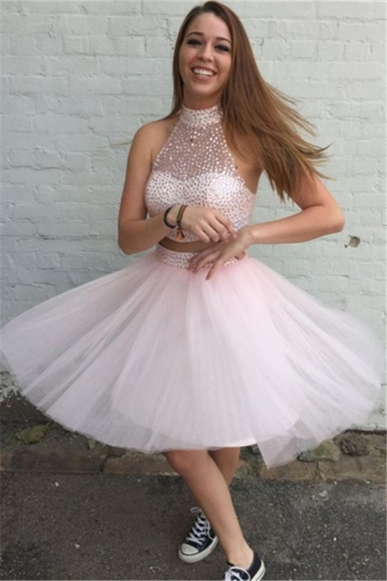 High Collar Pink Two Piece Cocktail Dress Sleeveless Beading Short  Homecoming Dresses