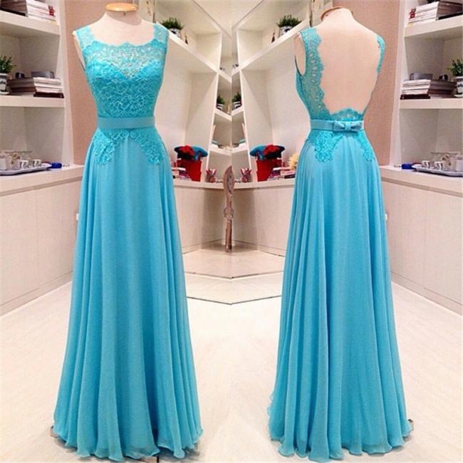 Elegant Light Blue Floor Length Prom Dress A-Line Bowknot Lace Open Back Party Dresses