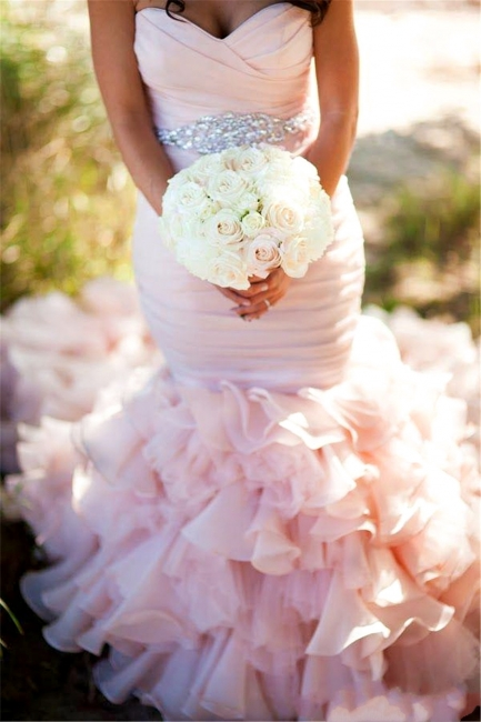 Sexy Mermaid Sweetheart Wedding Dresses  Pink Crystal Lace-Up Lovely Ruffles Bridal Gowns