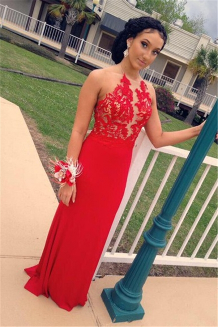 Latest  Sexy Red Evening Dresses Backless Sheer Lace Prom Gowns