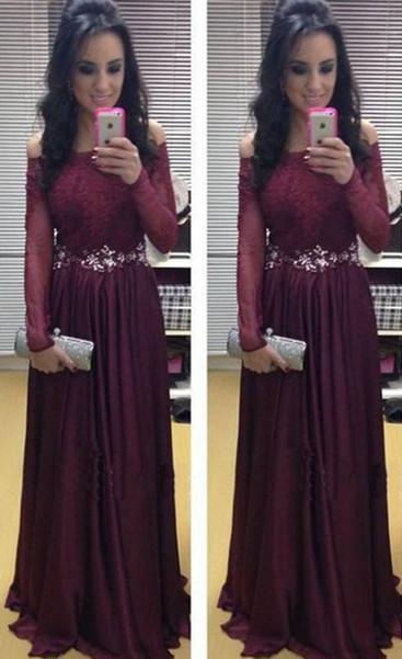 A-Line Burgundy Crystal Long Sleeve Prom Dress Off Shoulder Chiffon Lace Evening Dress