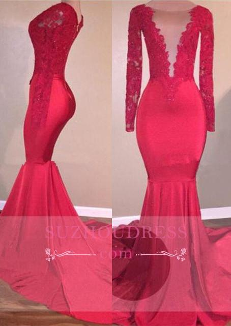 Mermaid Long Sleeve  Lace Appliques Red Sexy Prom Dress BA5300