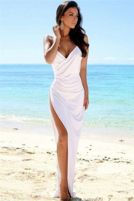 Spaghetti Straps Deep V-neck Sexy Evening Dress  Side Slit  Formal Dress