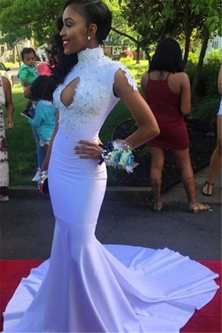 Sexy Mermaid High-Neck Prom Dresses  Appliques Keyhole Evening Dresses with Beadings SK0102