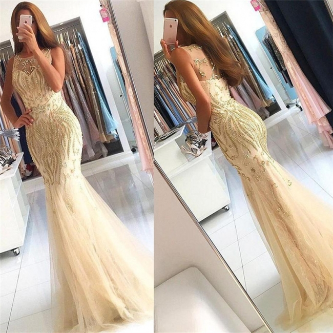 Beaded Crystals Mermaid Tulle Evening Dress Champagne  Gorgeous Prom Dress BA6133