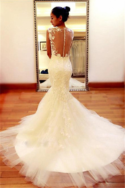 New Arrival Lace  Wedding Dress Sheer Back Sexy Mermaid Bridal Dresses