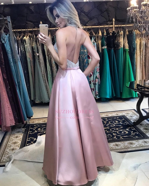 Pink Halter Beadings Evening Dresses | Sexy A-line Backless Prom Dress