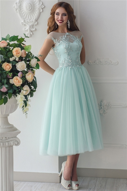 Glamorous Jewel Green Tulle Lace Short Prom Dress Sleeveless Beading Appliques Party Dresses On Sale