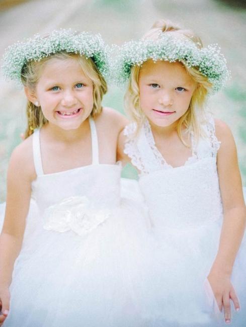 White Tulle Long Flower Girl Dress White Lace Dress with Crossed Back BO8530