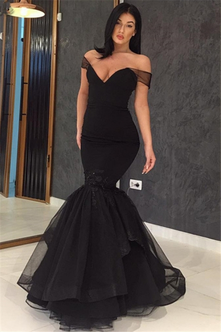 Off The Shoulder Mermaid Sexy Evening Gowns  Black Open Back  Prom Dress