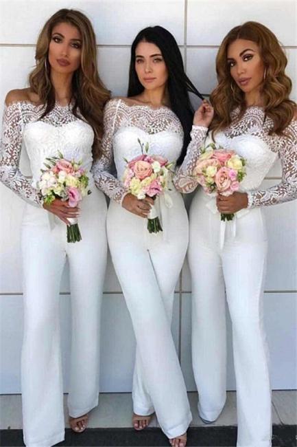 Off Shoulder Lace Jumpsuit Bridesmaid Dresses | Long Sleeves Sheath Wedding Party Pants