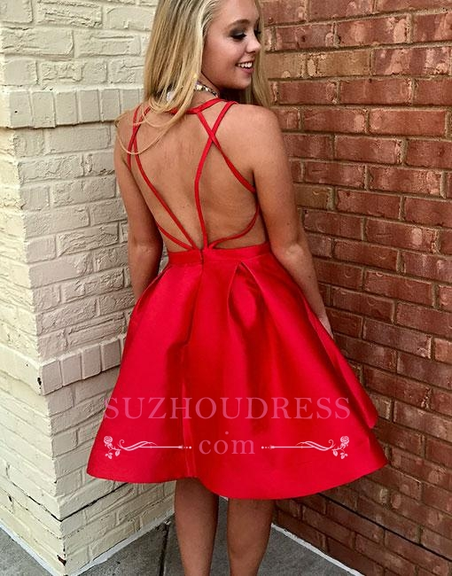 New Arrival Sleeveless V-neck Simple Red Short A-line Homecoming Dress