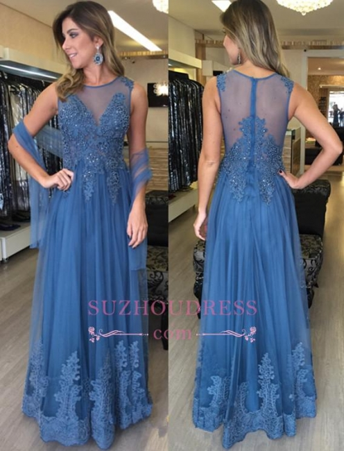 Applique Zipper A-Line Floor Length Evening Dress  Sleeveless Elegant Tulle Prom Dresses
