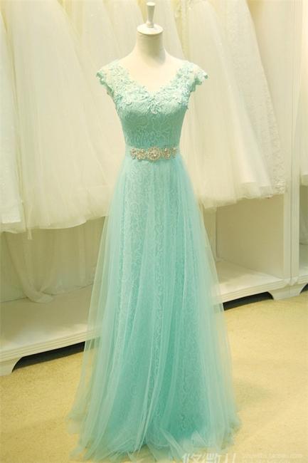 Lace V-Neck Applique  Prom Dress Tulle Lace Up Elegant Long Evening Dresses