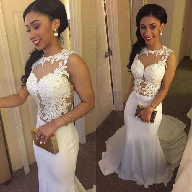 White Sexy Mermaid  Evening Gowns Lace Sleeveless Long Party Dresses BA3761