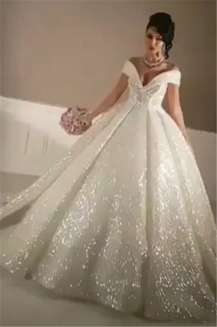 Sexy Off-the-Shoulder Open Back Wedding Dresses | Lace-Up Sequins Bridal Ball Gowns
