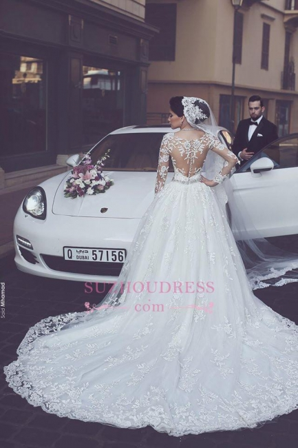 Elegant Appliques Tulle Ball Gown Bride Dress  Long Sleeves  Princess Wedding Dress