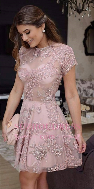 Pink Short-Sleeves Beaded Homecoming Dress | Open-Back Mini Party Dresses