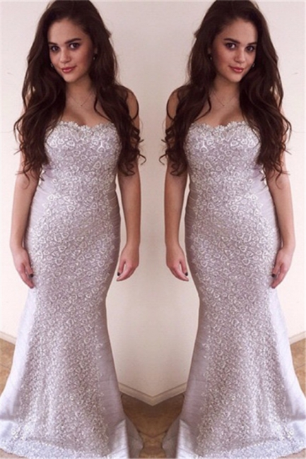 Sweetheart Sexy Mermaid Sleeveless Evening Dresses Zipper Charming Lace Applique  Gowns
