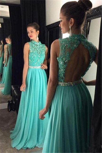 Charming Open Back Prom Dresses  Green Chiffon Long Evening Gowns BA7556