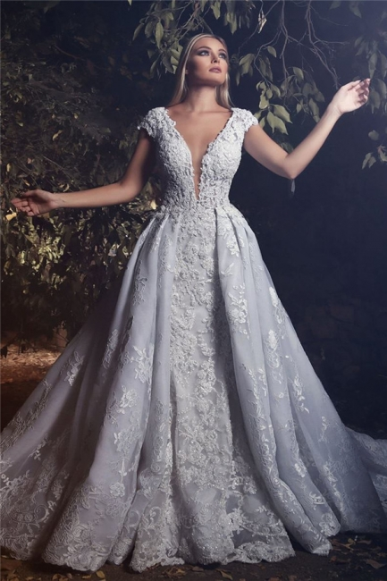 Deep V-neck Cap Sleeves 3D Lace Appliques Wedding Dresses  Luxury Overskirt Court Train Bridal Dress