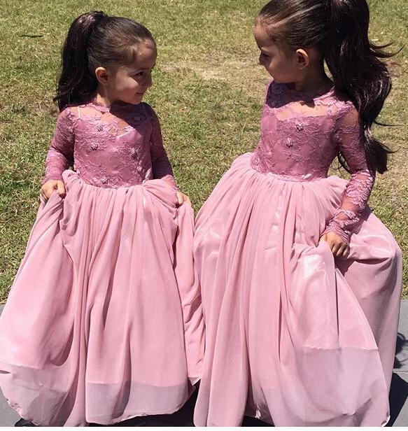 A-Line Long Sleeve Pink Flower Girl Dressb  Cute Long Sleeve Wedding Dress BO8435