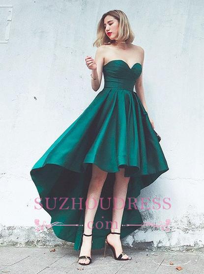 Hot Sleeveless Ruffles Asymmetrical Hi-Lo Lace-up Sweetheart Evening Gown