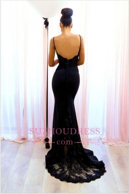 Sexy Black Lace Evening Dress  | Mermaid Spaghetti-Straps Prom Dress