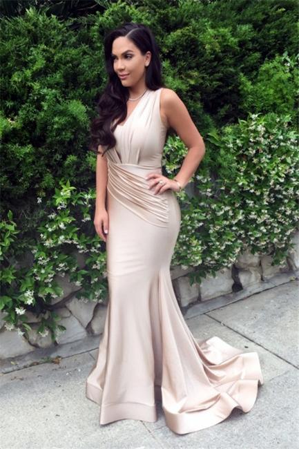 Sexy Mermaid  Slinky Nude Evening Gown Sleeveless  Prom Dress BA3633