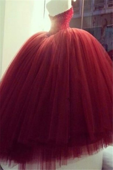 Quinceanera Dresses Burgundy Tulle Sweetheart Evening Ball Gowns BA4051