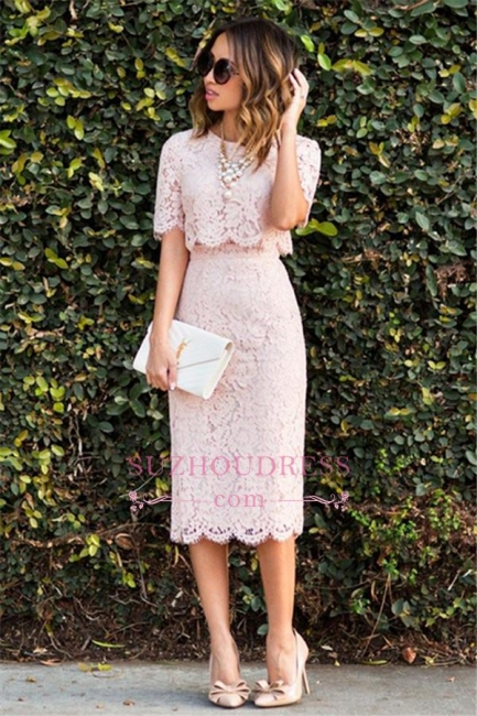 Pink Cute Lace Two-Piece Fashion Short-Sleeve Homecoming Dresses BA6003