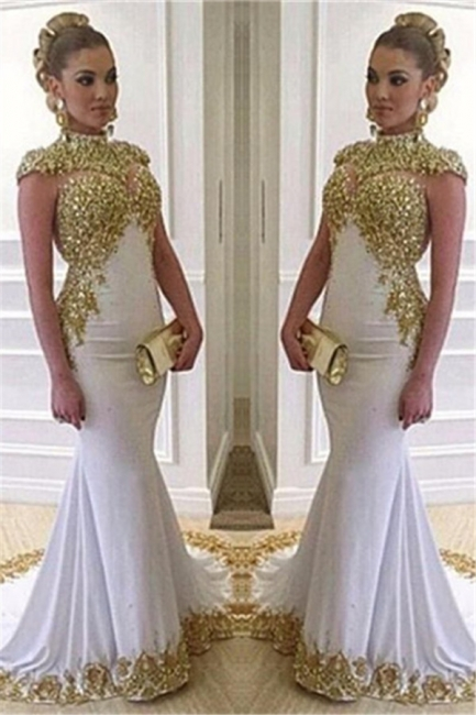High Neck Cap Sleeves Mermaid Prom Dresses Sweep Train Evening Dresses with Beadings