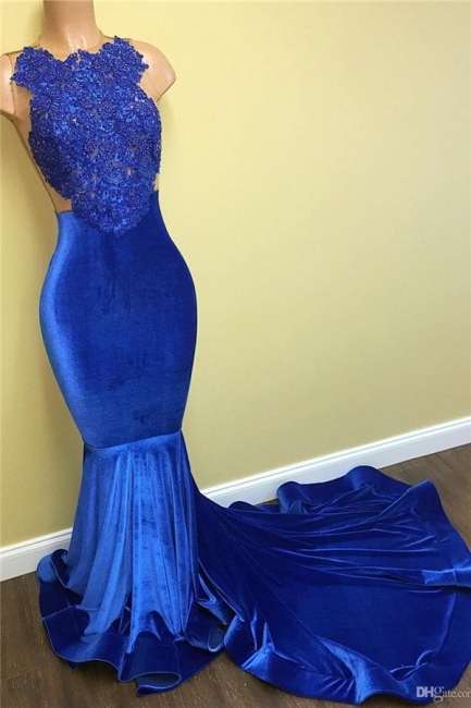 New Arrival Mermaid Royal Blue Velvet Prom Dress   Lace Evening Gown BA5055 MQ0052